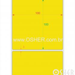 Etiqueta Adesiva Couchê 100  x 100  x 1 Chap Amarelo