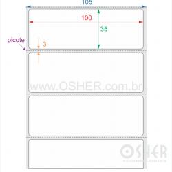 Etiqueta BOPP Branco Brilhante 100  x 35  x 1 Picote L105