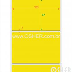 Etiqueta BOPP Branco Brilhante 100  x 65  x 1 Chap Amarelo L105