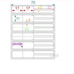 Etiqueta Adesiva BOPP Branco Brilhante Acril. 22g Joalheiro 66  x 11  (Corpo 17+17X11 e Filete 32X2) UN RET L070