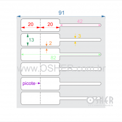 Etiqueta Adesiva BOPP Branco Brilhante Acril. 22g Joalheiro 82  x 13  (Corpo 20+20X13 e Filete 42X3) ESP2H Unica L091