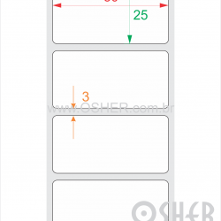 Etiqueta PVC Branco Destrutível Liner Fino 50  x 25  x 1 L055