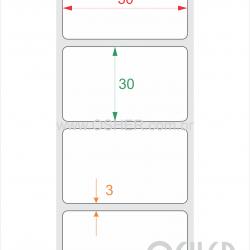 Etiqueta PVC Branco Destrutível Liner Fino 50  x 30  x 1
