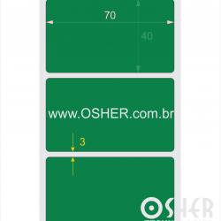 Etiqueta PVC Branco Destrutivel Liner Fino 70  x 40  x 1 Chap Verde L077